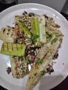 Grilled Fennel & Leek Salad with Olives,Lemon & buckwheat